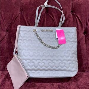 Betsey Johnson Swag Chain Heart Grey tote & pouch